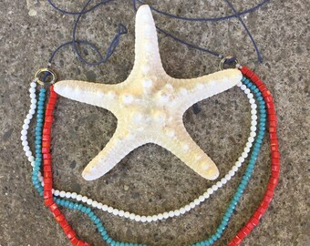 Three color necklace red white blue 13-20'' beaded 3 lines