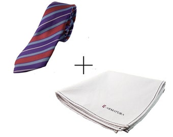 Package red striped tie and white handkerchief