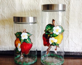 2 hand-painted glass jars