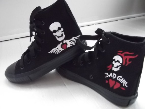 Hand Painted, Canvas High Tops, Skull and Hearts