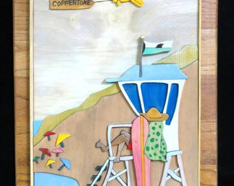Wood art wall hanging lifeguard at the beach, mixed media