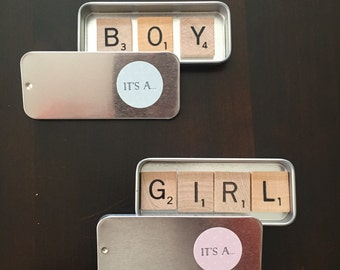 BOY or GIRL individual Scrabble magnets in slider tin