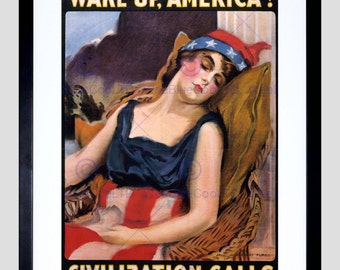 "Art Print - Advert War Wwi Wake Up America Liberty Sleep Civilization Military 12x16"" Poster FEBB7152B"