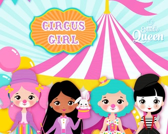 ClipArt Girls Circus,  Circus Digital clipart, clip art for Personal and Comercial Use, Instant Download