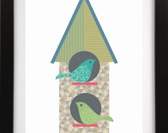 Contemporary Folk Birdhouse Digital Download for Print
