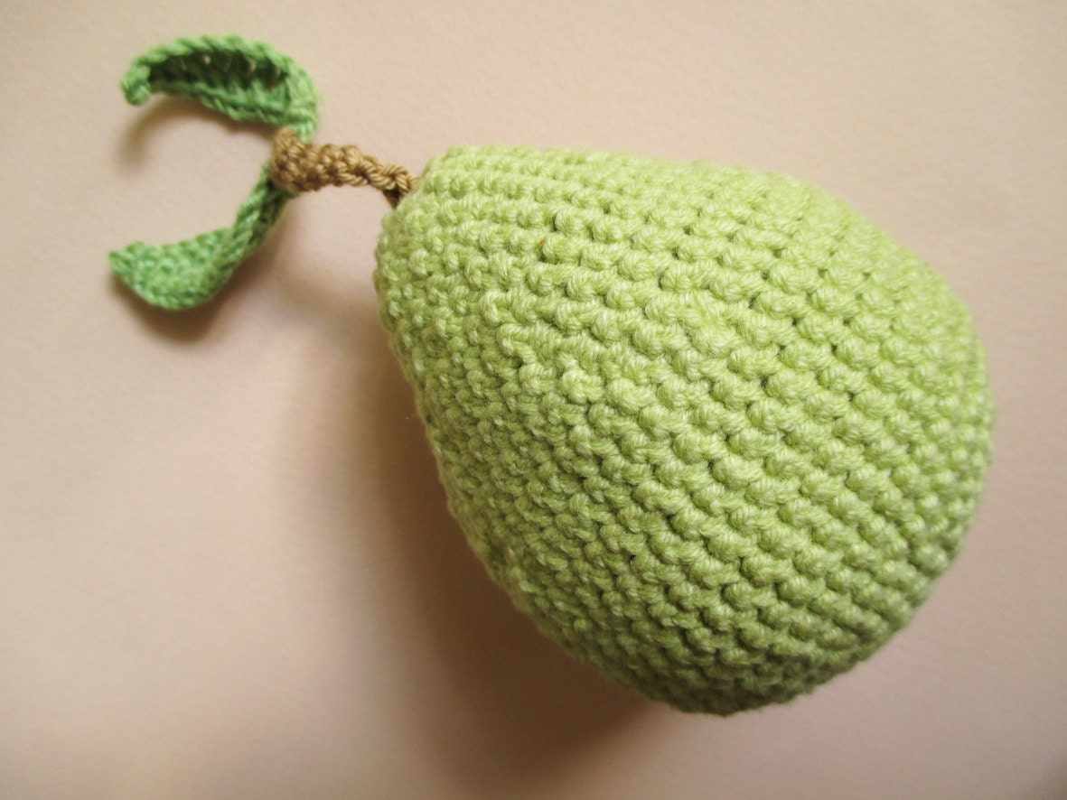 Hand Knitted Toys : Hand knitted green pear crochet play food toys