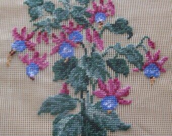"Vintage pre-worked needlepoint. 18""x18"" Columbine, main colors – pinks, blues, greens."