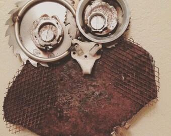 Handmade, Hand Welded, Metal Garden Owl, Gears, Yard Art, Recycled Cutlery, Scrap Metal, Owl, Metal Owl, Welded Owl