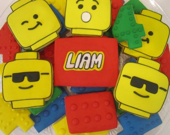 Lego cookies - lego bricks/lego heads
