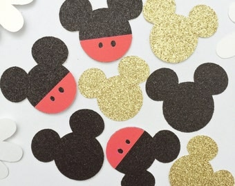 100 Glitter Mickey Mouse Confetti, First Birthday Party, Mickey Baby Shower, Party Decorations, Birthday Party Confetti, Mickey Confetti