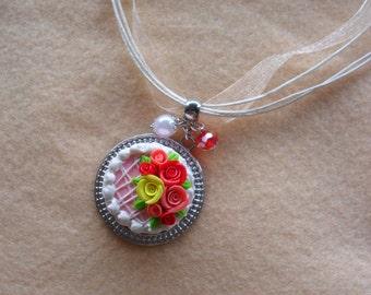 Miniature fimo roses cake necklace