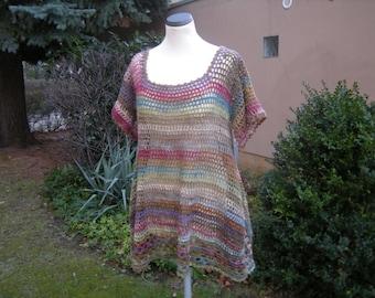 Crochet shirt tunic shirt crochet Zipfel tunic, size 42-46.