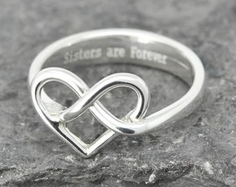 Maid Of Honor Gift, Maid Of Honor Jewelry, Maid Of Honor Ring, Sterling Silver Ring, Bridesmaid Ring, Bridesmaid Gift, Infinity Ring