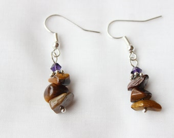 Tigerseye and Deep Amethyst Silver Earrings
