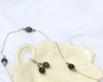 Labradorite & Silver Earrings and Slip-On Necklace Set