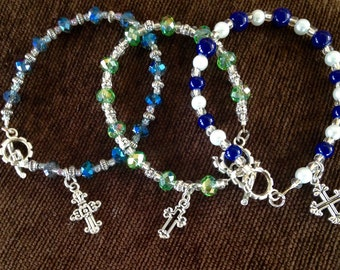 Crystal Beads bracelet with cross charm
