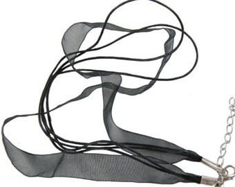 "16"" Black Ribbon Necklace x10"