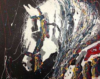 Arabian Horse Artwork - Large Modern Painting - Abstract Arab Stallion Art for Horse Lovers - Equine Art - Original Artist Painting