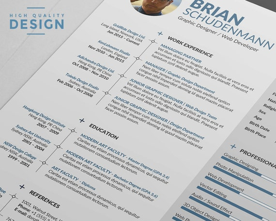 Gridride Professional Resume Template Creative Word Resume Design