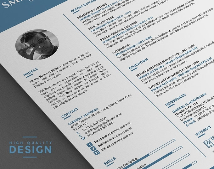 Simple Resume Template Professional Design. Word Resume Template with Cover Letter. Creative, Instant Download | Classic and Clean Resume