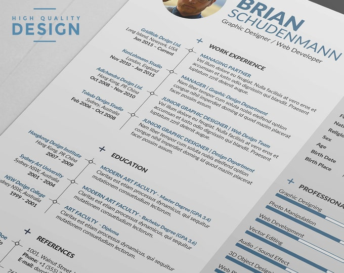 Resume Template / CV Template, Word CV Design with 2 Cover Letter layout, Modern Curriculum Vitae Instant Download
