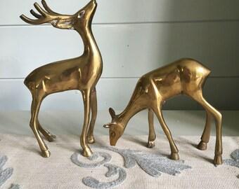 Brass Deer Pair, Buck and Doe