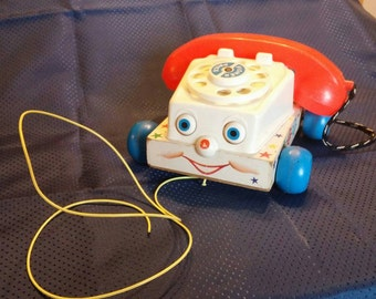 Vintage Fisher Price Chatter Phone wooden pull toy 1960's, free shipping