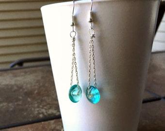 Aqua glass with chain