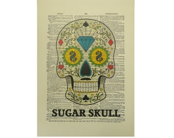 Vintage Inspired Sugar Skull Dictionary Page Art Print P015