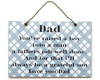 Handmade Wooden ' Dad and Son ' Quote 306