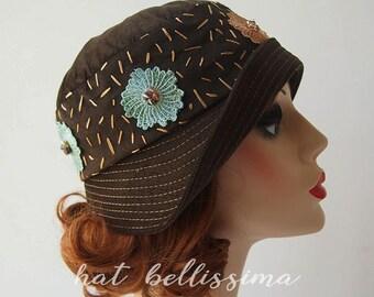 Coffee 1920's Cloche Hat Vintage Style hat hatbellissima