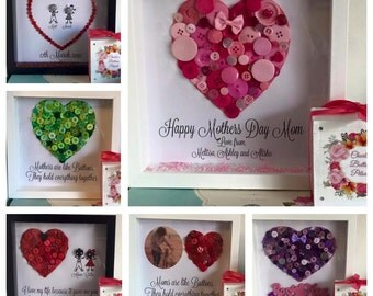 Button Heart Personalised Frame