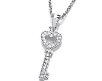 Little Cubic Zirconia and Silver Key Pendant
