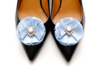 Thérèse - Blue Linen Rhinestone Shoe Clips