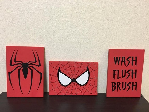 Spiderman bathroom canvas wash flush brush spidey eyes for Spiderman bathroom ideas