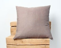Brown Linen Decorative Pillow Cover, Brown Pillow Covers 20x20, 18x18, 16x16, 24x24