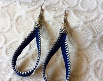 SALE! - Navy Zipper Teardrop Earring