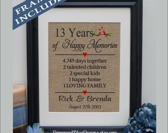 13th Wedding Anniversary Gift 13 Years Married Together For