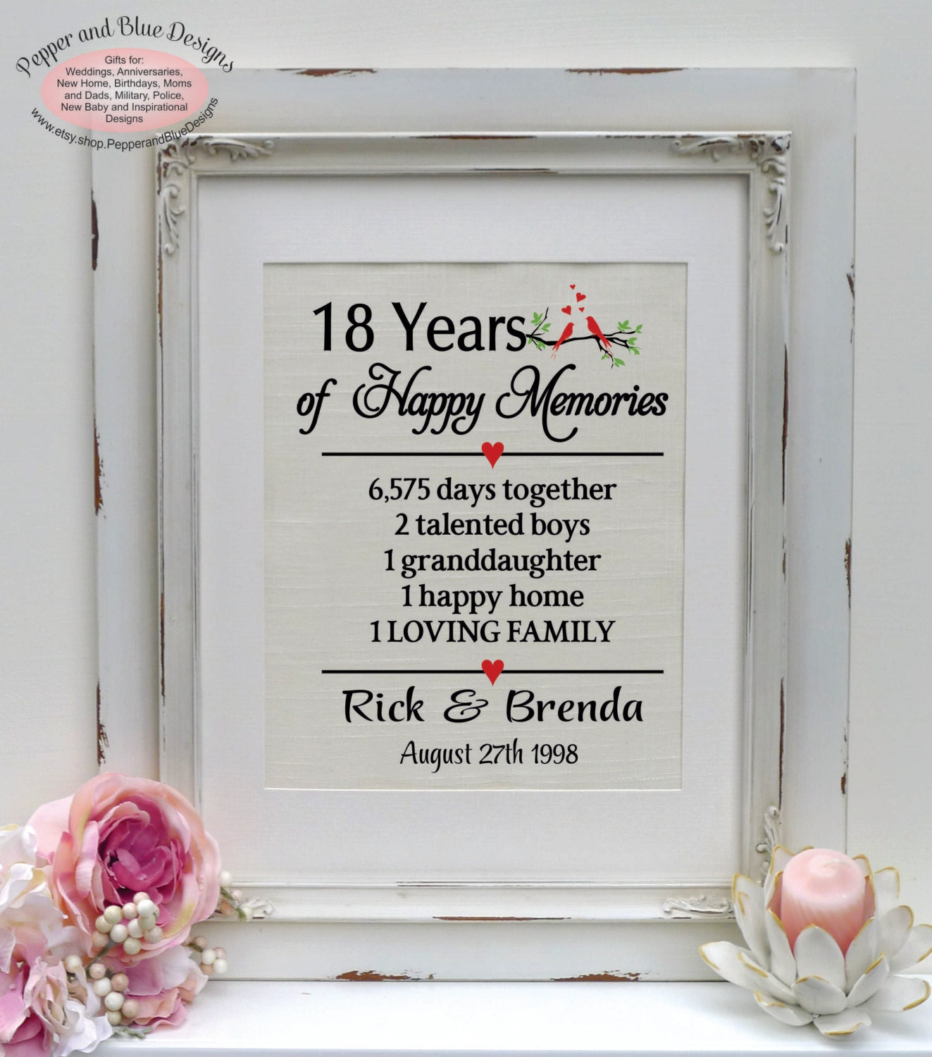 17th Anniversary Gift For Wife: 18th Wedding Anniversary Gifts 18 Years By