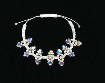 Sterling Silver & Swarovski Crystal Macrame Bracelet