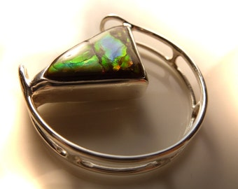 Pendant with AMMOLITE, 31 x 29mm color changer, unique, ammolite, Ammolith, colour changer