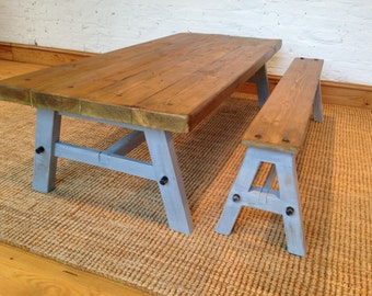 Country chic artisan coffee table and bench