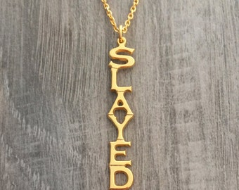 Vertical name necklace, custom name necklace, custom nameplate, gold name necklace, gold nameplate, slay jewelry, formation jewelry