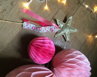 Wand magic fairy in Liberty of Anjo pink