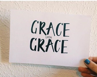 John 1:16, Hand Drawn Art – 'Grace Upon Grace'