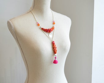 long necklace in pink orange fabric ochre