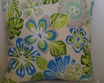 Floral Print Throw Pillow with Light Green Back
