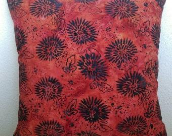 Chrysanthemum Print Batik Stuffed Throw Pillow with Blue Batik Back