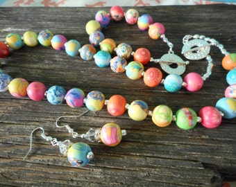 Multi Color, round bead, silver, 3piece Set, Pink,Blues,Yellows and Oranges