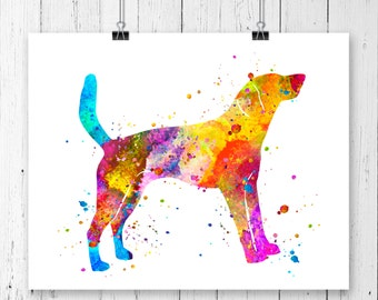 American Foxhound 2 Watercolor Fine  Art Print, Poster, Wall Art, Home Decor, Kids Wall Art, Play Room Wall Art, Nursery Wall Art, Archival